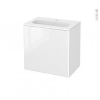 Meuble de salle de bains - Plan vasque REZO - IRIS Blanc - 1 porte - Côtés décors - L60,5 x H58,5 x P40,5 cm