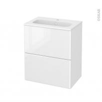 Meuble de salle de bains - Plan vasque REZO - IRIS Blanc - 2 tiroirs - Côtés décors - L60,5 x H71,5 x P40,5 cm