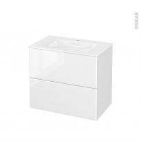 Meuble de salle de bains - Plan vasque VALA - IRIS Blanc - 2 tiroirs - Côtés décors - L80,5 x H71,2 x P50,5 cm