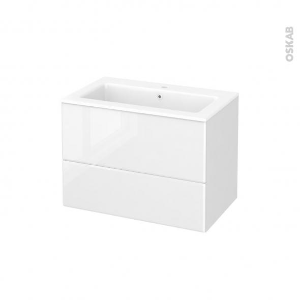 meuble de salle de bains plan vasque naja iris blanc 2 tiroirs c t s d cors l80 5 x h58 5 x p50. Black Bedroom Furniture Sets. Home Design Ideas