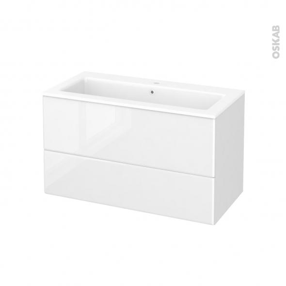Meuble de salle de bains - Plan vasque NAJA - IRIS Blanc - 2 tiroirs - Côtés décors - L100,5 x H58,5 x P50,5 cm