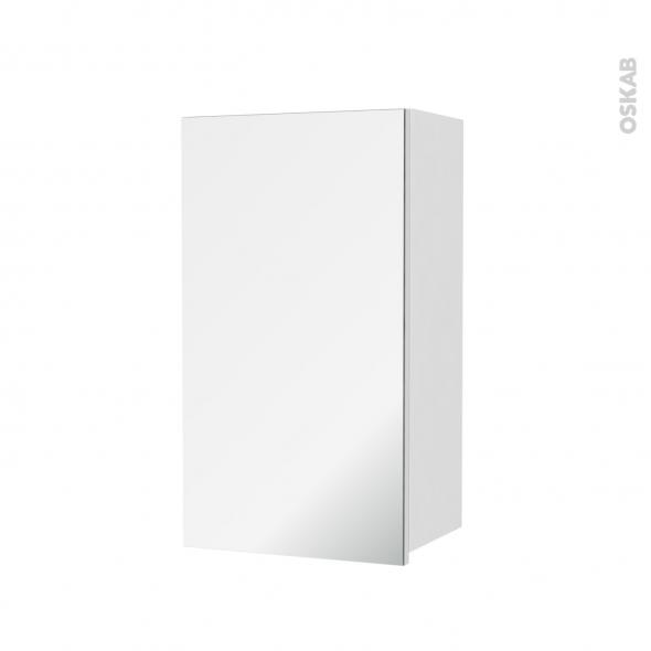 Armoire de salle de bains - Rangement haut - IRIS Blanc - 1 porte miroir - Côtés décors - L40 x H70 x P27 cm