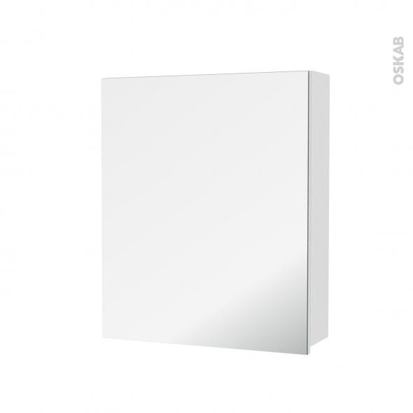 Armoire de toilette - Rangement haut - IRIS Blanc - 1 porte miroir - Côtés décors - L60 x H70 x P17 cm