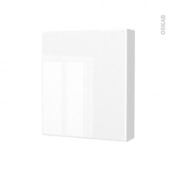 Armoire de toilette - Rangement haut - IRIS Blanc - 1 porte - Côtés blancs - L60 x H70 x P17 cm