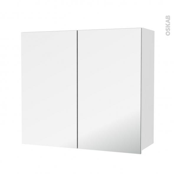 Armoire de salle de bains - Rangement haut - IRIS Blanc - 2 portes miroir - Côtés décors - L80 x H70 x P27 cm