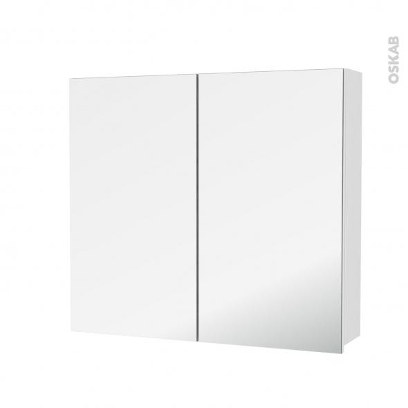 Armoire de toilette - Rangement haut - IRIS Blanc - 2 portes miroir - Côtés décors - L80 x H70 x P17 cm