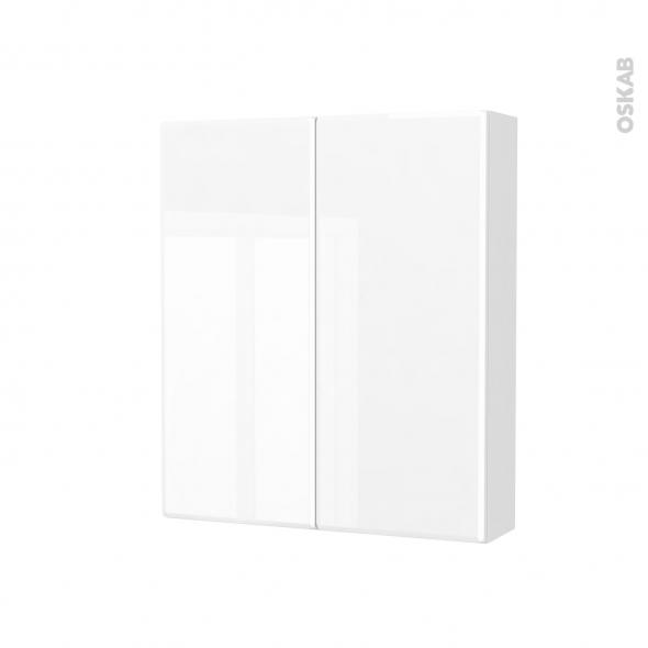 Armoire de toilette - Rangement haut - IRIS Blanc - 2 portes - Côtés décors - L60 x H70 x P17 cm