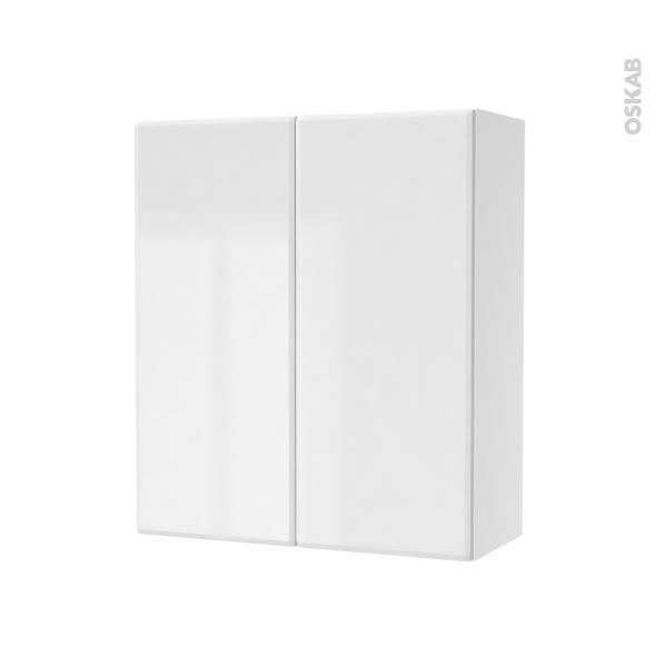 Armoire de salle de bains - Rangement haut - IRIS Blanc - 2 portes - Côtés décors - L60 x H70 x P27 cm