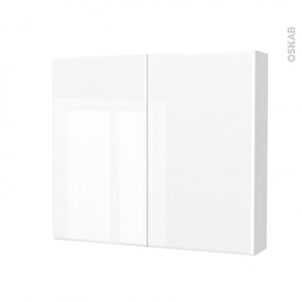 Armoire de toilette - Rangement haut - IRIS Blanc - 2 portes - Côtés blancs - L80 x H70 x P17 cm