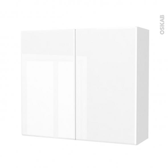 Armoire de salle de bains - Rangement haut - IRIS Blanc - 2 portes - Côtés décors - L80 x H70 x P27 cm