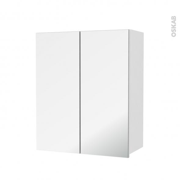 Armoire de salle de bains - Rangement haut - IRIS Blanc - 2 portes miroir - Côtés décors - L60 x H70  xP27 cm