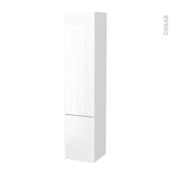 Colonne de salle de bains - 2 portes - IRIS Blanc - Côtés blancs - Version B - L40 x H182 x P40 cm