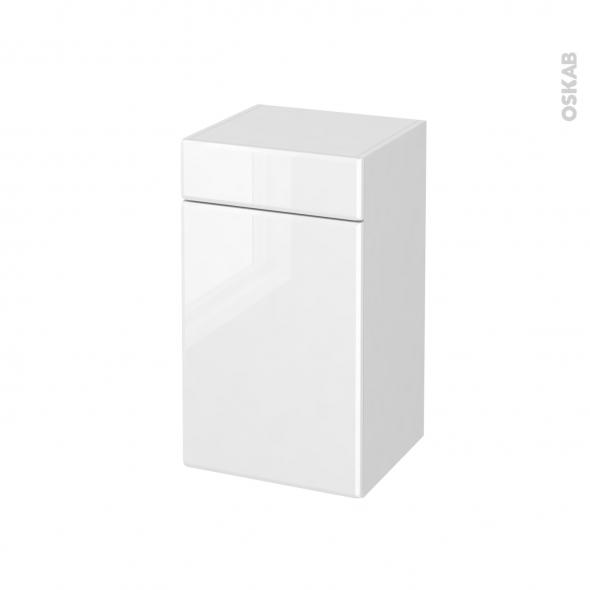 Meuble de salle de bains - Rangement bas - IRIS Blanc - 1 porte 1 tiroir - L40 x H70 x P37 cm
