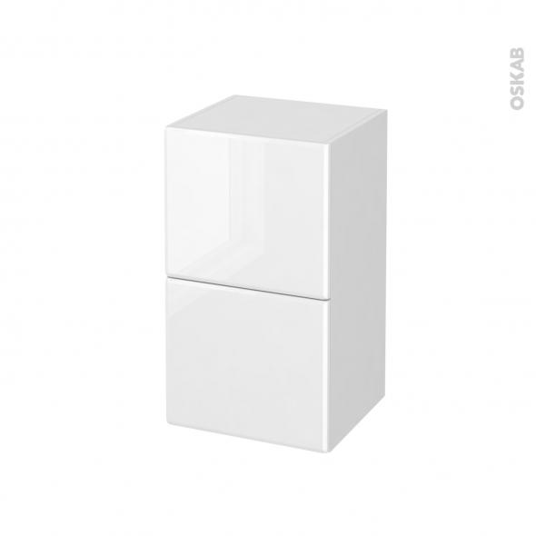 Meuble de salle de bains - Rangement bas - IRIS Blanc - 2 tiroirs - L40 x H70 x P37 cm