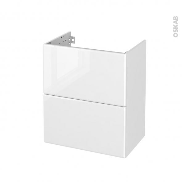 Meuble de salle de bains - Sous vasque - IRIS Blanc - 2 tiroirs - Côtés décors - L60 x H70 x P40 cm