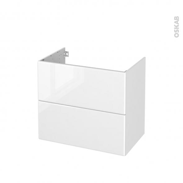 Meuble de salle de bains - Sous vasque - IRIS Blanc - 2 tiroirs - Côtés décors - L80 x H70 x P50 cm