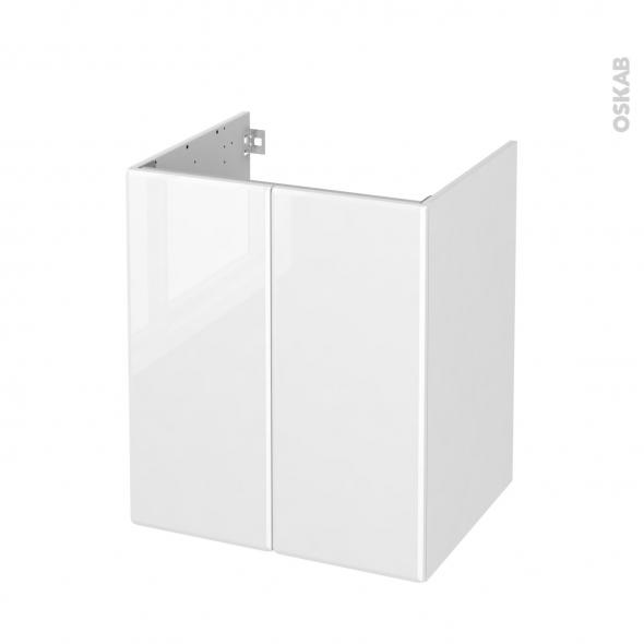 Meuble de salle de bains - Sous vasque - IRIS Blanc - 2 portes - Côtés décors - L60 x H70 x P50 cm