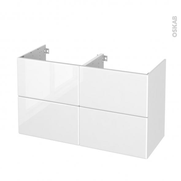 Meuble de salle de bains - Sous vasque double - IRIS Blanc - 4 tiroirs - Côtés décors - L120 x H70 x P50 cm