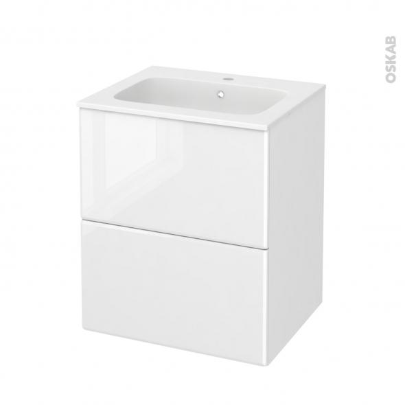 Meuble de salle de bains - Plan vasque REZO - IRIS Blanc - 2 tiroirs - Côtés décors - L60,5 x H71,5 x P50,5 cm