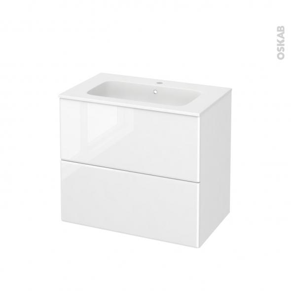 Meuble de salle de bains - Plan vasque REZO - IRIS Blanc - 2 tiroirs - Côtés décors - L80,5 x H71,5 x P50,5 cm