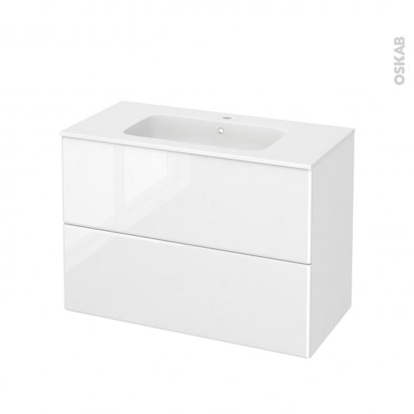 Meuble de salle de bains - Plan vasque REZO - IRIS Blanc - 2 tiroirs - Côtés décors - L100,5 x H71,5 x P50,5 cm