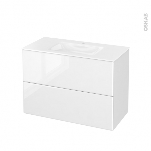 Meuble de salle de bains - Plan vasque VALA - IRIS Blanc - 2 tiroirs - Côtés décors - L100,5 x H71,2 x P50,5 cm