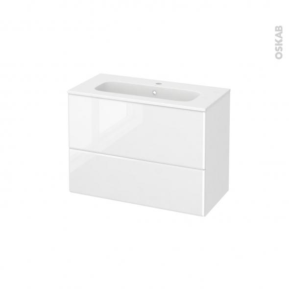 Meuble de salle de bains - Plan vasque REZO - IRIS Blanc - 2 tiroirs - Côtés décors - L80,5 x H58,5 x P40,5 cm