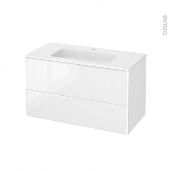 Meuble de salle de bains - Plan vasque REZO - IRIS Blanc - 2 tiroirs - Côtés décors - L100,5 x H58,5 x P50,5 cm