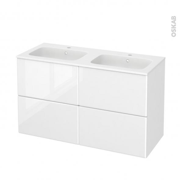Meuble de salle de bains - Plan double vasque REZO - IRIS Blanc - 4 tiroirs - Côtés décors - L120,5 x H71,5 x P50,5 cm