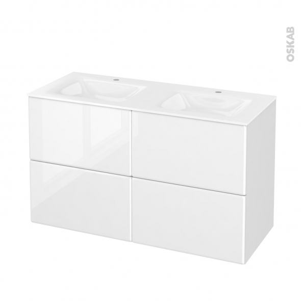 Meuble de salle de bains - Plan double vasque VALA - IRIS Blanc - 4 tiroirs - Côtés décors - L120,5 x H71,2 x P50,5 cm