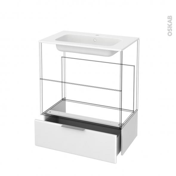 Tiroir sous meuble - Socle n°101 - IRIS Blanc - pour meuble salle de bains - L80 x H26 x P45 cm
