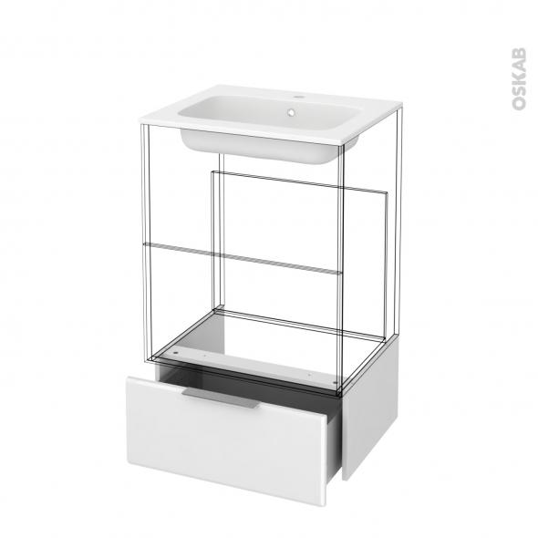 Tiroir sous meuble - Socle n°51 - IRIS Blanc - pour meuble salle de bains - L60 x H26 x P45 cm