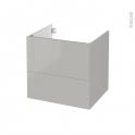 Meuble de salle de bains - Sous vasque - IVIA GRIS - 2 tiroirs - Côtés décors - L60 x H57 x P50 cm