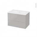 Meuble de salle de bains - Plan vasque NAJA - IVIA GRIS - 2 tiroirs - Côtés décors - L80,5 x H58,5 x P50,5 cm
