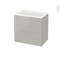 Meuble de salle de bains - Plan vasque REZO - IVIA Gris - 2 tiroirs - Côtés décors - L60,5 x H58,5 x P40,5 cm