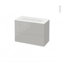 Meuble de salle de bains - Plan vasque REZO - IVIA Gris - 2 tiroirs - Côtés décors - L80,5 x H58,5 x P40,5 cm