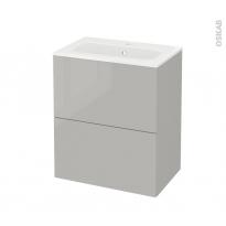 Meuble de salle de bains - Plan vasque REZO - IVIA Gris - 2 tiroirs - Côtés décors - L60,5 x H71,5 x P40,5 cm