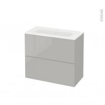 Meuble de salle de bains - Plan vasque REZO - IVIA Gris - 2 tiroirs - Côtés décors - L80,5 x H71,5 x P40,5 cm