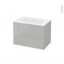 Meuble de salle de bains - Plan vasque REZO - IVIA Gris - 2 tiroirs - Côtés décors - L80,5 x H58,5 x P50,5 cm