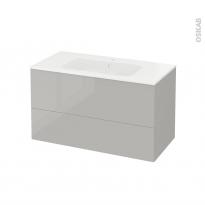 Meuble de salle de bains - Plan vasque REZO - IVIA Gris - 2 tiroirs - Côtés décors - L100,5 x H58,5 x P50,5 cm