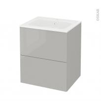Meuble de salle de bains - Plan vasque REZO - IVIA Gris - 2 tiroirs - Côtés décors - L60,5 x H71,5 x P50,5 cm