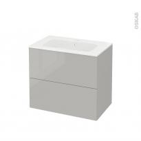 Meuble de salle de bains - Plan vasque REZO - IVIA Gris - 2 tiroirs - Côtés décors - L80,5 x H71,5 x P50,5 cm
