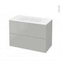Meuble de salle de bains - Plan vasque REZO - IVIA Gris - 2 tiroirs - Côtés décors - L100,5 x H71,5 x P50,5 cm