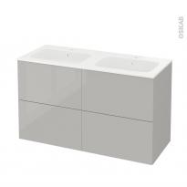 Meuble de salle de bains - Plan double vasque REZO - IVIA Gris - 4 tiroirs - Côtés décors - L120,5 x H71,5 x P50,5 cm