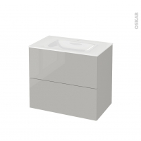 Meuble de salle de bains - Plan vasque VALA - IVIA GRIS - 2 tiroirs - Côtés décors - L80,5 x H71,2 x P50,5 cm