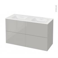 Meuble de salle de bains - Plan double vasque VALA - IVIA GRIS - 4 tiroirs - Côtés décors - L120,5 x H71,2 x P50,5 cm