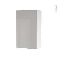 Armoire de salle de bains - Rangement haut - IVIA GRIS - 1 porte - Côtés blancs - L40 x H70 x P27 cm