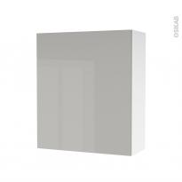 Armoire de salle de bains - Rangement haut - IVIA GRIS - 1 porte - Côtés blancs - L60 x H70 x P27 cm
