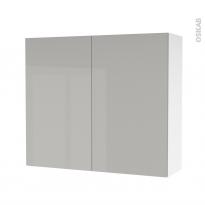 Armoire de salle de bains - Rangement haut - IVIA GRIS - 2 portes - Côtés blancs - L80 x H70 x P27 cm
