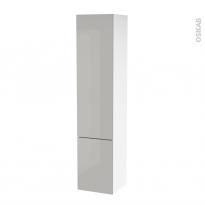Colonne de salle de bains - 2 portes - IVIA GRIS - Côtés blancs - Version B - L40 x H182 x P40 cm